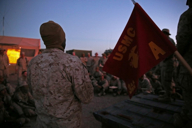 Marines and Sailors assigned to Company A, 3rd Assault Amphibian Battalion, 1st Marine Division, celebrate the Marine Corps' 240th birthday aboard Yuma Proving Grounds, Ariz., Nov. 10, 2015. The Marines and Sailors celebrated the birthday as a culminating event to the 18-day field operation.