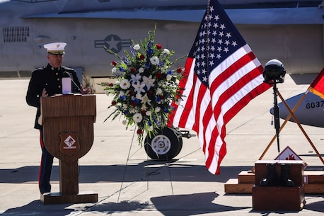 Lt. Col. Jerry Estell, commanding officer of Marine Fighter Attack Squadron 232, speaks during a memorial ceremony in honor of Maj. Taj Sareen, a pilot with VMFA-232, aboard Marine Corps Air Station Miramar, Calif., Nov. 13. Sareen died on Oct. 21 when his jet crashed during his return flight following a six-month deployment in support of Operation Inherent Resolve.