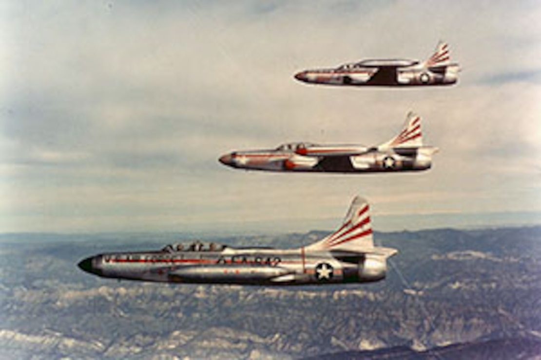 Formation of three F-94Cs (S/N 51-5642, 50-1063 and 51-5549) of the 354th Fighter Interceptor Squadron, Oxnard Air Force Base, Calif., on June 19, 1956.