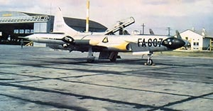 The first 354th Interceptor Group jet, an F-94,  from Long Beach assigned to Oxnard AFB in 1952.