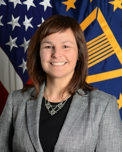 Dr. Melissa L. Flagg, Deputy Assistant Secretary of Defense for Research, Office of Aquisitions, Technology and Logistics, Office of the Secretary of Defense, poses for her official portrait in the Army portrait studio at the Pentagon in Washington, D.C., Oct. 29, 2015.  (U.S. Army photo by Monica King/Released)