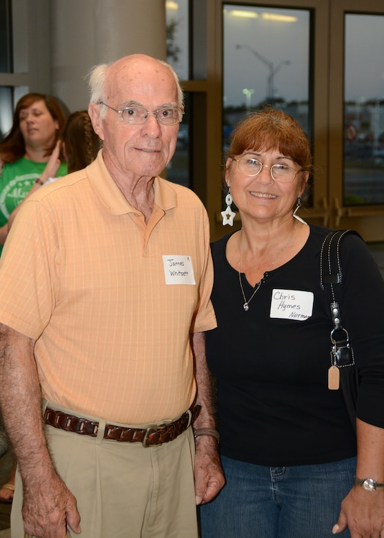 Jim Whitsett, a U.S. Army Korean War veteran, poses for a photo with his guardian Tech. Sgt. Christina Hymes of the 507th Medical Squadron from Tinker Air Force Base, Okla., Sept. 16, 2015. Whitsett and 80 fellow veterans were chosen to fly to Washington, D.C., to visit memorials built in their honor as part of the Oklahoma Honor Flight Program. (U.S. Air Force photo by Tech. Sgt. Lauren Gleason)