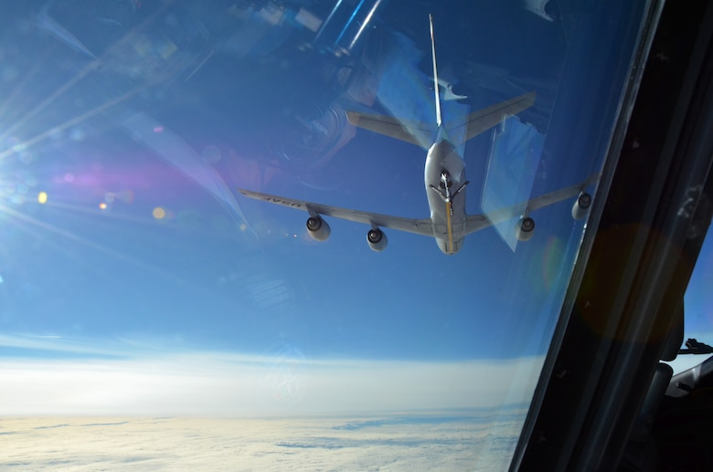 Mission accomplished. An Arizona Air National Guard KC-135 Stratotanker finishes refueling a NATO E-3A Sentry over northern Germany during a training mission Nov. 16. Airmen from the 161st Air Refueling Wing based in Phoenix are supporting aircrew training operations Nov. 9-20 at NATO Air Base Geilenkirchen, Germany. (U.S. Air National Guard photo by Lt. Col. Gabe Johnson)