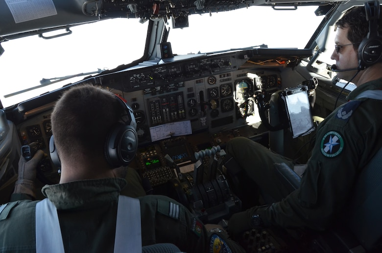 NATO E-3 Sentry instructor pilot, German Air Force Maj. Thomas Ratersmann (right), and Portuguese Air Force Capt. Fred Sousa, an E-3 student pilot, fly to a rendezvous with an Arizona Air National Guard KC-135 Stratotanker over northern Germany Nov. 16. Airmen and tankers from the Phoenix-based 161st Air Refueling Wing are here supporting NATO aircrew training operations Nov. 9-20. (U.S. Air National Guard photo by Lt. Col. Gabe Johnson)