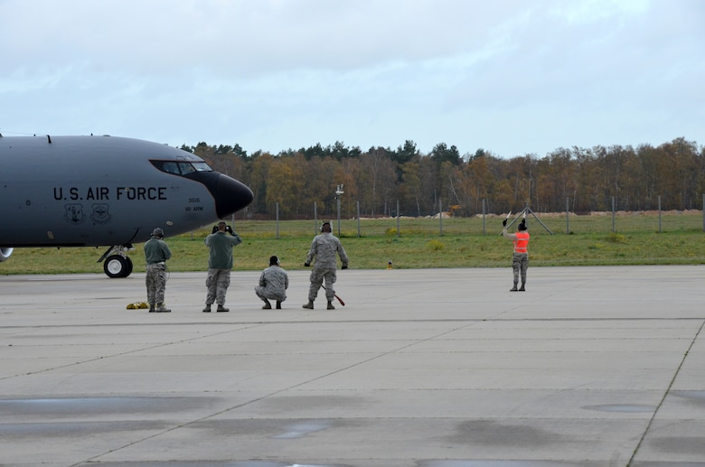 Aircraft maintainers from the 161st Air Refueling Wing launch a KC-135 Stratotanker Nov. 13 at NATO Air Base Geilenkirchen, Germany. Arizona Air National Guard members from Phoenix are supporting NATO E-3A Sentry aircrew training operations Nov. 9-20. (U.S. Air National Guard photo by Lt. Col. Gabe Johnson)