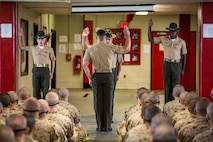 Drill instructors for Platoon 1086, Charlie Company, 1st Recruit Training Battalion, recite the Drill Instructor Pledge on July 25, 2015, before taking charge of the young men they are expected to mold into Marines on Parris Island, S.C. In the pledge, drill instructors promise to train their recruits to the best of their abilities, meaning they will not give up on the recruits even when the recruits may give up on themselves. Parris Island has been the site of Marine Corps recruit training since Nov. 1, 1915. Today, approximately 20,000 recruits come to Parris Island annually for the chance to become United States Marines by enduring 13 weeks of rigorous, transformative training. Parris Island is home to entry-level enlisted training for approximately 50 percent of males and 100 percent of females in the Marine Corps. (Photo by Sgt. Jennifer Schubert)