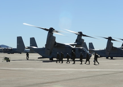 Pilots and crewmen from Marine Medium Tiltrotor Squadron (VMM-764), 4th Marine Air Wing, Marine Forces Reserve, embark their aircraft for their 6,165 mile trip to Rio de Janeiro, Brazil, in support of UNITAS Amphibious 2015 here on Nov. 6, 2015, marking the longest movement in the MV-22B Ospreys operational history. UNITAS Amphibious is a multi-nation exercise designed to increase interoperability in Amphibious Operations and Humanitarian/Disaster Relief missions among participating countries.