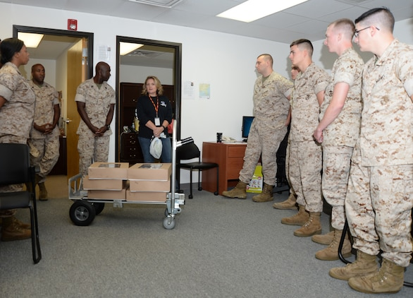 Kim Cleveland, program manager, Substance Abuse Counseling Center, Marine and Family Programs, Marine Corps Logistics Base Albany, speaks to Marines concerning issues relating to drug abuse and prevention as part of the Red Ribbon Week campaign.