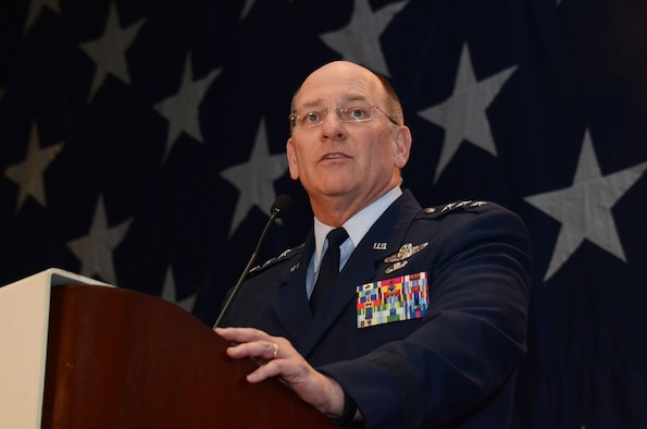"""Lt. Gen. James Jackson, chief of Air Force Reserve, Headquarters U.S. Air Force, Washington, D.C., and Air Force Reserve Command commander, speaks to over 700 attendees of the 63rd Annual Atlanta Regional Military Affairs Council Military Appreciation Luncheon in Atlanta, Georgia Nov. 16. """"This year, the Air Force Reserve celebrated its 67th birthday,"""" said Jackson. """"The ARMAC has hosted this luncheon for the last 63 years, almost the length of our existence. Thanks to each and every one of you for the support you give to our Airmen."""" (U.S. Air Force photo/Don Peek)"""