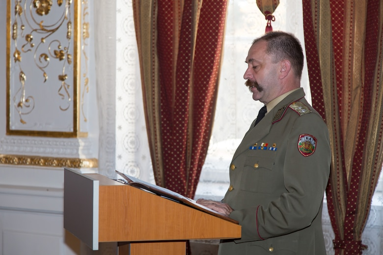Maj. Gen. Todor Dotchev, Commander Bulgarian Rakovski Defense Staff College, addresses students from the first ever IEAFA combined international officer and NCO PME course graduation held in Sofia, Bulgaria, Nov.13, 2015.  Bulgaria partnered with the U.S. to co-host the inaugural course which included twenty-three students from Bulgaria, Czech Republic, Estonia, and Hungary participated in this inagural course. (U.S. Air Force photo/SMSgt Travis Robbins/Released)