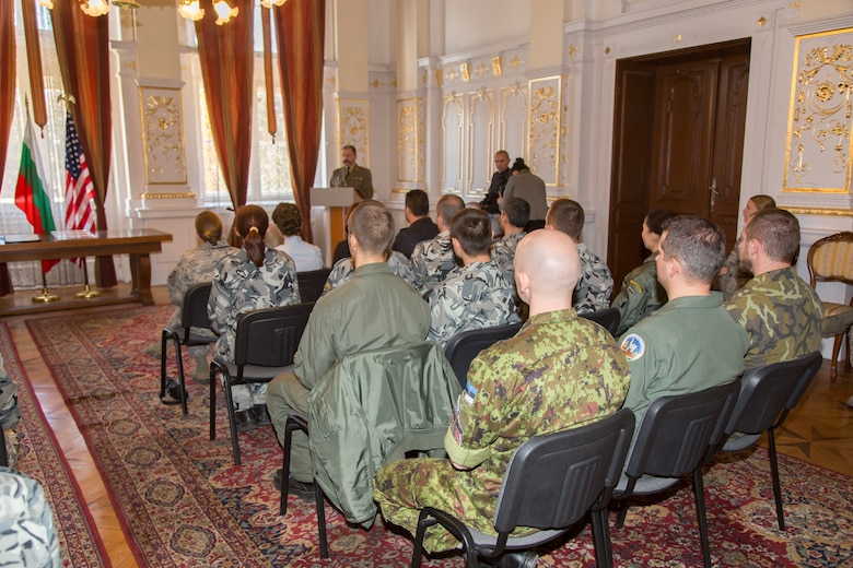 Major General Todor Dotchev, Commander Bulgarian Rakovski Defense Staff College, addresses students from the first ever IEAFA combined international officer and NCO PME course graduation held in Sofia, Bulgaria, Nov. 13, 2015.  Twenty-three students from Bulgaria, Czech Republic, Estonia, and Hungary participated in this inagural course. (U.S. Air Force photo/SMSgt Travis Robbins/Released)
