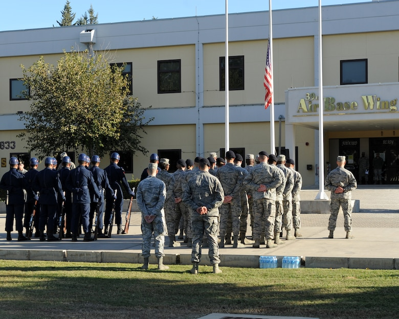 Turkish and U.S. Airmen join together in a Veterans Day ceremony Nov. 11, 2015, at Incirlik Air Base, Turkey. Veterans Day is a U.S. federal holiday to honor America's veterans for their patriotism, love of country and willingness to serve and sacrifice for the common good. (U.S. Air Force photo by Airman 1st Class Daniel Lile/Released)