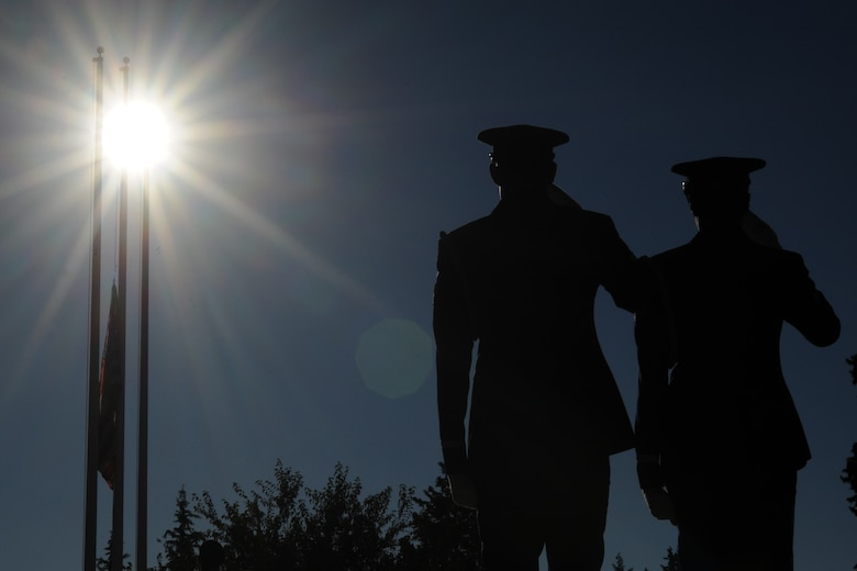 Members of the 39th Air Base Wing Honor Guard salute the American Flag during a Veterans Day ceremony Nov. 11, 2015, at Incirlik Air Base, Turkey. Veterans Day became a U.S. federal holiday June 1, 1954, and serves as a day to honor American veterans of all wars. (U.S. Air Force photo by Airman 1st Class Daniel Lile/Released)