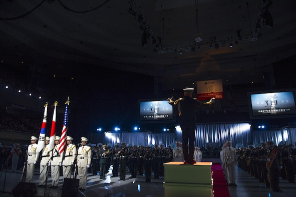 U.S., Japan and South Korean bands perform the closing ceremony of the Japan Self-Defense Force Marching Festival at the Nippon Budokan Arena in Tokyo, Nov. 13, 2015. The festival allowed all of the bands the opportunity to engage and interact with one another. (U.S. Air Force photo/Airman 1st Class Delano Scott)