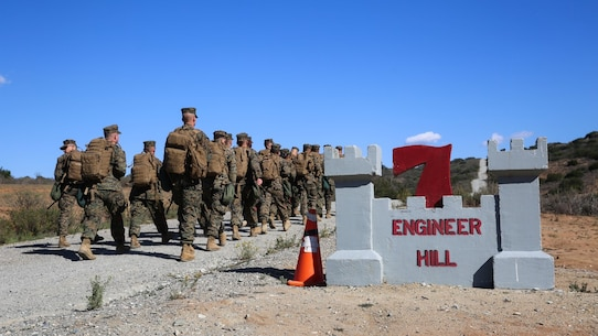 Marines with Combat Logistics Battalion 11, 1st Marine Logistics Group, I Marine Expeditionary Force, hike up Engineer Hill on their way to conduct land navigation as part of the Basic Combat Skills Course aboard Marine Corps Base Camp Pendleton, Calif., Nov. 16, 2015. Hiking and patrolling serve as an integral part of BCSC, which allows the Marines to integrate tactical communication and the countering of improvised explosive devices. The culminating event of the course takes place on the final day of the week and incorporates explosive counter measures, enemy contact drills and room clearing in small team elements.