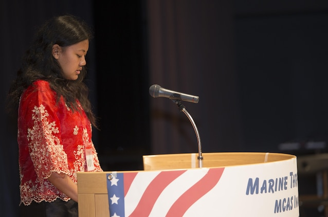 Micaela Lobaton, speech contestant, delivered a speech in Japanese at the 54th Annual Japanese and English Speech Contest at the Sinfonia Iwakuni in Iwakuni, Japan, Nov. 8, 2015. Speech contestants divided up by grade with the addition of a beginners and advanced group. This contest promotes understanding and friendship between the Americans and Japanese.