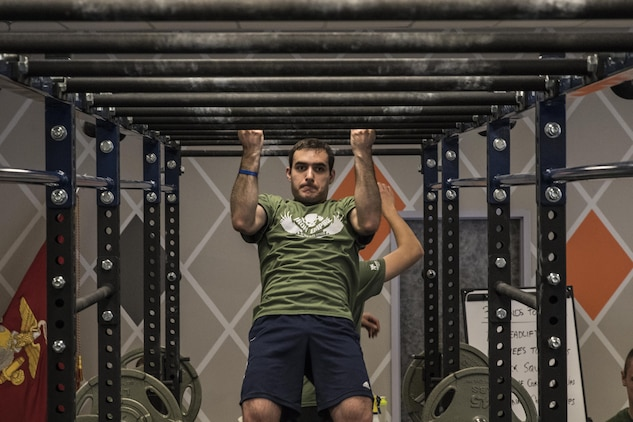 A Marine Poolee Executes His 11 Pull Ups For Cur Circuit During The Macdonald