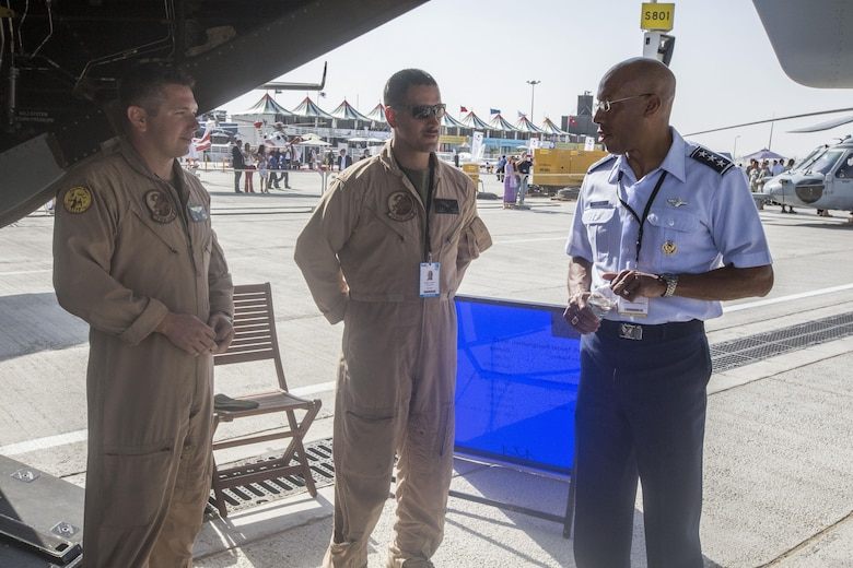 Lt. Gen. Charles Q. Brown Jr., Commander, U.S. Air Forces Central Command, Southwest Asia visits with Marines from the Red Dragons of Marine Medium Tiltrotor Squadron 268 during the 2015 Dubai Airshow, Dubai World Central, United Arab Emirates. The Marines showcased some of the unit's aviation capabilities to thousands of foreign military personnel and distinguished visitors at the air show from November 8 - 12. The unit is currently deployed as part of the Aviation Command Element of Special Purpose Marine Air-Ground Task Force Crisis Response Central Command 16.1.