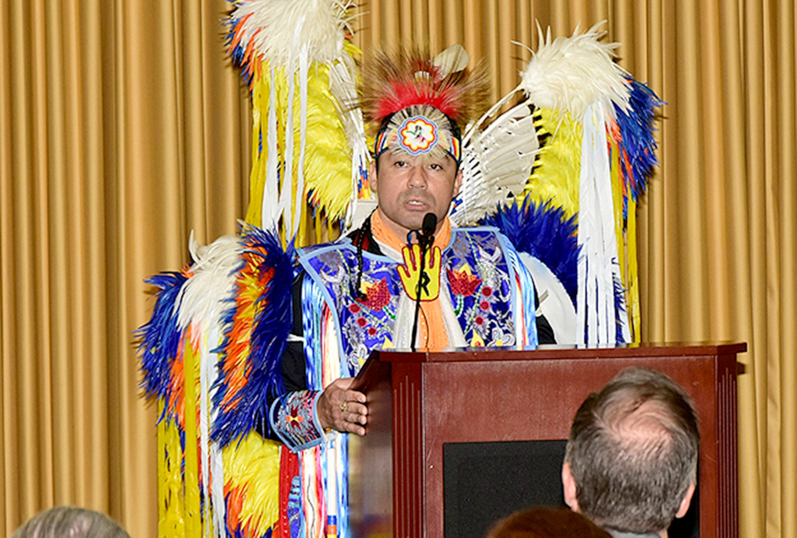 E. Keith Colston, administrative director for the Maryland Commission on Indian Affairs, describes the Native American culture during a Native American Heritage Month Observance at the McNamara Headquarters Complex Nov. 18.