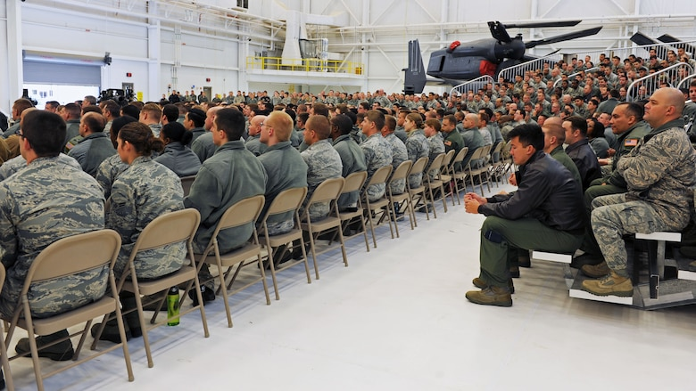 Air Commandos listen intently as Chief of Staff of the Air Force, Gen. Mark A. Welsh III speaks during an all-call Nov. 17, 2015 at Cannon Air Force Base, N.M. Approximately 1,200 Air Commandos attended, taking advantage of the opportunity to have their questions answered by one of the force's most influential leaders. (U.S. Air Force photo/Staff Sgt. Whitney Amstutz)