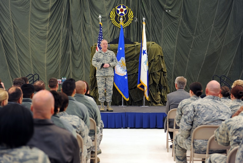 Chief of Staff of the Air Force, Gen. Mark A. Welsh III addresses Air Commandos and local leadership during an all-call Nov. 17, 2015 at Cannon Air Force Base, N.M. Welsh spoke about the value of communication, common sense and caring for one another, and fielded questions pertaining to foreign policy and the future of the Remotely Piloted Aircraft community to name a few. (U.S. Air Force photo/Staff Sgt. Whitney Amstutz)