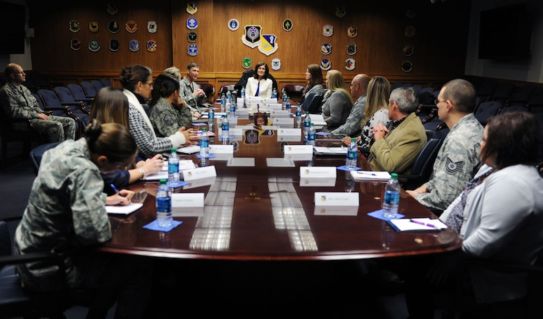 Betty Welsh, wife of Chief of Staff of the Air Force, Gen. Mark A. Welsh III, meets with representatives from helping agencies throughout the 27th Special Operations Wing Nov. 17, 2015 at Cannon Air Force Base, N.M. During her visit, Mrs. Welsh engaged in quality of life discussions and addressed pressing Air Force issues such as resiliency and outreach. (U.S. Air Force photo/Staff Sgt. Whitney Amstutz)