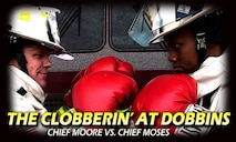 Kevin Moore and Dwight Moses, 94th Civil Engineer Squadron firefighter chiefs who have worked together on and off since technical school, are now stationed together at Dobbins Air Reserve Base, Ga. They have used their friendship and competitive natures to propel themselves through their careers. (U.S. Air Force graphic/Staff Sgt. Daniel Phelps)