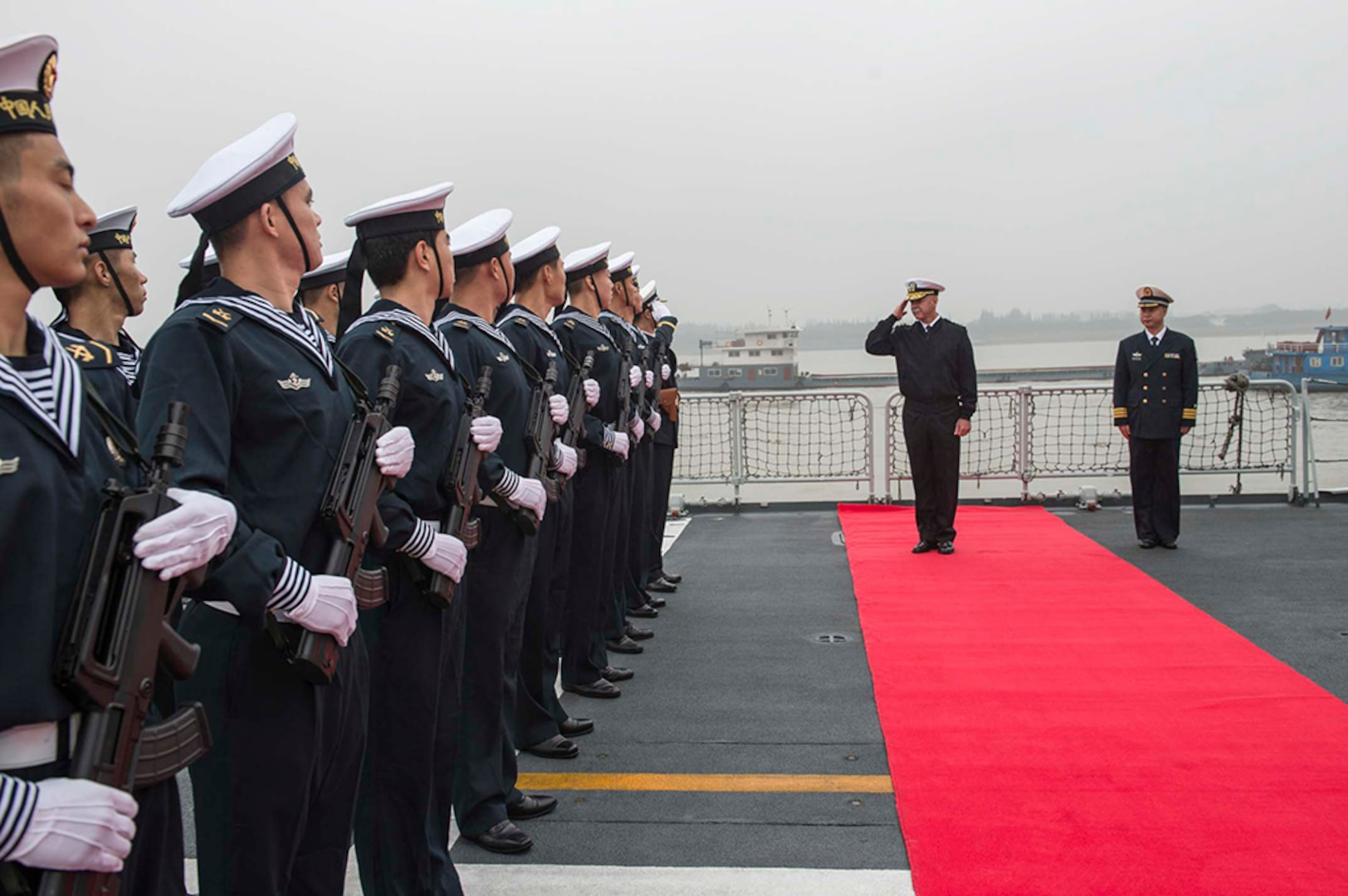 SHANGHAI (Nov. 17, 2015) Adm. Scott H. Swift, commander U.S. Pacific Fleet, inspects sailors of the People's Liberation Army Navy Jiangkai II class guided-missile frigate Xuzhou (FFG 530) during a pass and review prior to touring the ship during a scheduled port visit of the forward-deployed Arleigh Burke-class guided missile destroyer USS Stethem (DDG 63). Stethem is in Shanghai to build relationships with the PLA Navy and demonstrate the U.S. Navy's commitment to the Indo-Asia-Pacific.
