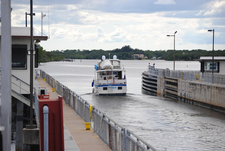 A boat departs after locking through W.P. Franklin Lock & Dam near Fort Myers. District lock and dam operators locked through more than 42,000 vessels last year.