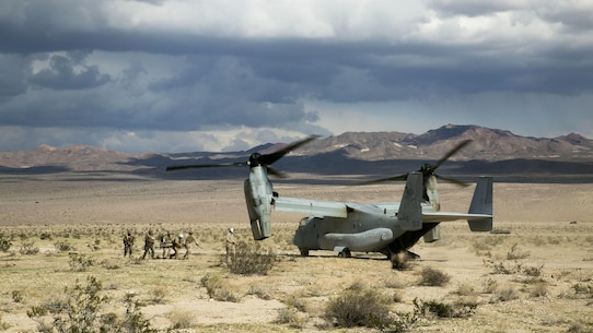 Marines with the Marine Air-Ground Task Force load a simulated casualty on to a waiting MV-22 Osprey during Integrated Training Exercise 1-16 aboard Marine Corps Air Ground Combat Center, Twentynine Palms, Calif., Oct. 23-Nov. 15, 2015. The Aviation Combat Element provides additional mobility, reconnaissance and firepower capabilities to the MAGTF.
