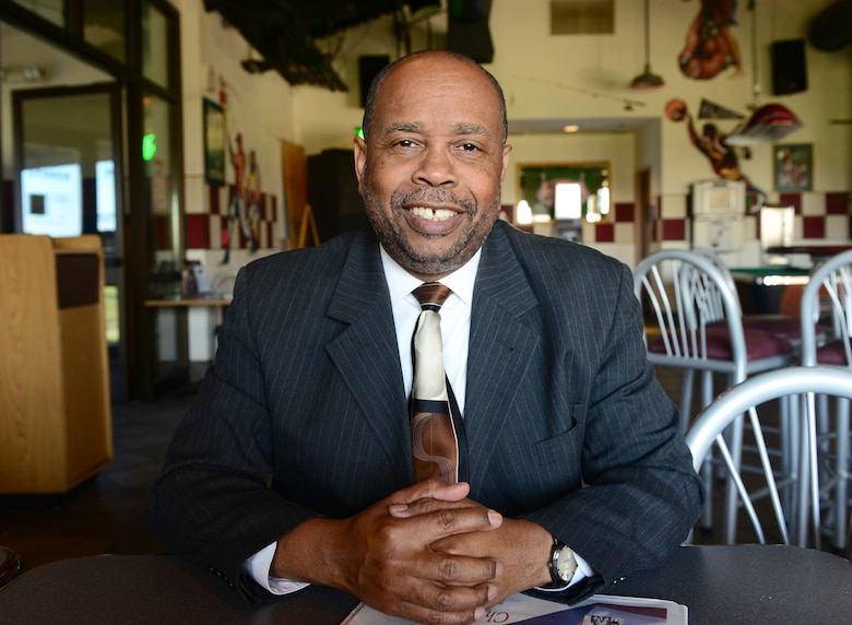 Clarence Benjamin Jr., the Northern California Combined Federal Campaign director, poses for a photo at the Coyote Grill and Pub on Beale Air Force Base, California, Nov. 13, 2015. Benjamin visited Beale to promote the Combined Federal Campaign which is now underway and will finish on Dec. 15, 2015. (U.S. Air Force photo by Senior Airman Bobby Cummings)