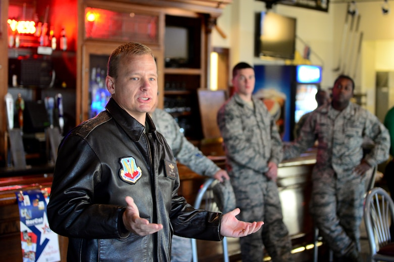 Col. Christopher Stricklin, 9th Reconnaissance Wing vice commander, speaks to Airmen during a kick-off breakfast for the Combined Federal Campaign at the Coyote Grill and Pub on Beale Air Force Base, California, Nov. 13, 2015. The CFC is the only authorized solicitation of Federal employees in the workplace on behalf of approved charitable organizations. (U.S. Air Force photo by Senior Airman Bobby Cummings)