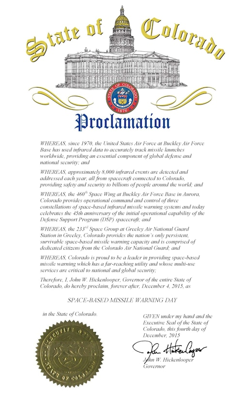 Space-Based Missile Warning Day Proclamation