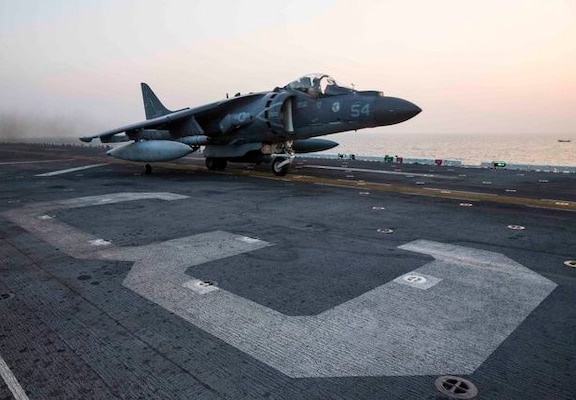 An AV-8B Harrier assigned to Marine Medium Tiltrotor Squadron (VMM) 162 (Reinforced), 26th Marine Expeditionary Unit (26th MEU), launches from the amphibious assault ship USS Kearsarge (LHD 3) to conduct their first missions over Iraq in support of Operation Inherent Resolve. Kearsarge is deployed to the U.S. 5th Fleet, supporting Operation Inherent Resolve.