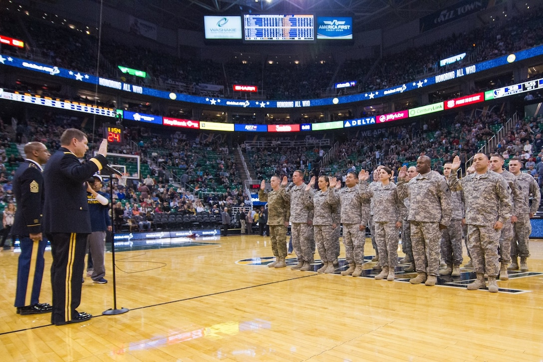 The Utah Jazz continued its tradition of support to Soldiers and Veterans through the recognition of several U. S. Army Reserve Soldiers during a half-time event on November 7, 2015. Members of the Utah Jazz, Memphis Grizzlies, and spectators witnessed the re-enlistment of Soldiers from the 807th Medical Command (Deployment Support) and the 76th Operational Response Command on center court of the Vivint Smart Home Arena. Brigadier General James Blankenhorn, Deputy Commanding General, 76th Operational Readiness Command, conducted the re-enlistment ceremony. The 13th Battalion, Army Reserve Careers Division, hosted the event.