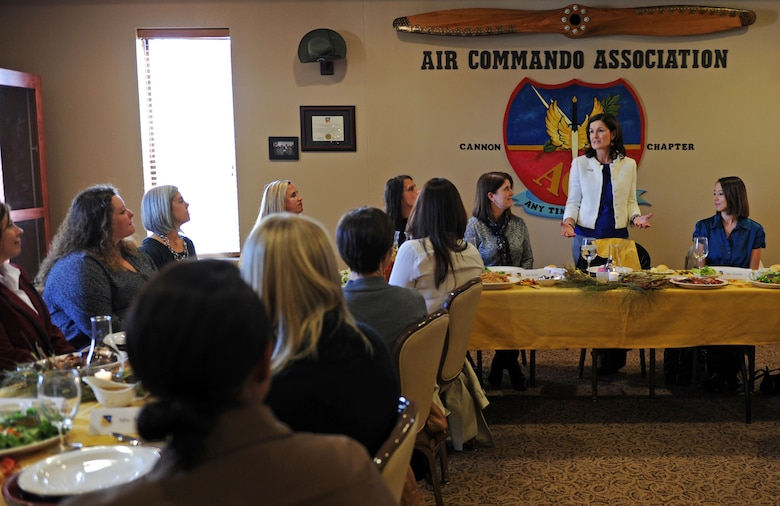 Betty Welsh, wife of Air Force Chief of Staff Gen. Mark A. Welsh III, speaks to spouses during a luncheon Nov. 17, 2015, at Cannon Air Force Base, N.M. During her visit, Betty Welsh engaged in quality of life and Preservation of the Force and Family discussions. (U.S. Air Force photo/Staff Sgt. Whitney Amstutz)