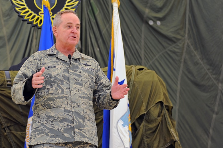 Air Force Chief of Staff Gen. Mark A. Welsh III addresses air commandos and local leadership during an all call Nov. 17, 2015, at Cannon Air Force Base, N.M. Welsh spoke about the value of communication, common sense and caring for one another, and fielded questions pertaining to foreign policy and the future of the remotely piloted aircraft community. (U.S. Air Force photo/Staff Sgt. Whitney Amstutz)