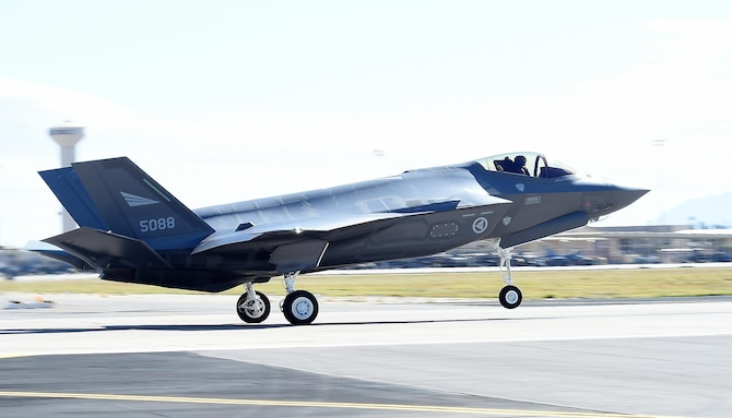 A Norwegian F-35 Lightning II lands at Luke Air Force Base, Arizona on November 10, 2015. The jet marks the scheduled arrival of the first of two F-35s for the Norwegian air force making Norway the newest partner in the international F-35 joint-partnership program here at Luke. (U.S. Air Force photo by Staff Sgt. Marcy Copeland)