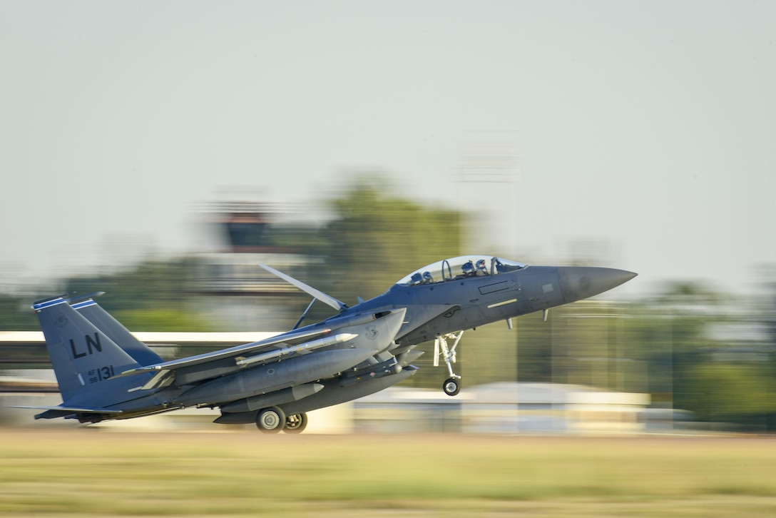 An F-15E Strike Eagle from the 48th Fighter Wing at Royal Air Force Lakenheath, England, lands at Incirlik Air Base, Turkey, Nov. 12, 2015. Six F-15Es are deployed in support of Operation Inherent Resolve and counter-Islamic State of Iraq and the Levant missions in Iraq and Syria. As an air-to-air and air-to-ground fighter aircraft, the F-15E specializes in gaining and maintaining air superiority. (U.S. Air Force photo/Airman 1st Class Cory W. Bush)