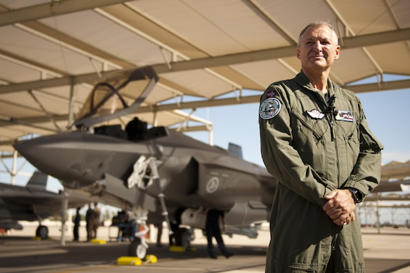 Maj. Gen. Morten Klever, Norwegian F-35 Program director, poses Nov. 10 in front of one of the first two Norwegian F-35 Lighting IIs to arrive at Luke Air Force Base. This marks the second international partner to have F-35s arrive for training at Luke.