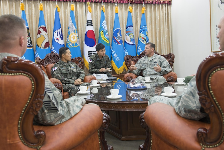 U.S. Air Force Brig. Gen. Barry Cornish, 18th Wing commander, meets with Republic of Korea Air Force Brig. Gen. Junsik Kim, 1st Fighter Wing commander, about Kadena's role and mission impact during exercise Vigilant Ace 16 Nov. 5, 2015, at Gwangju Air Base, Republic of Korea. Vigilant Ace is a regularly scheduled exercise meant to increase familiarity between the ROKAF and U.S. militaries. As the 'Keystone' of the Pacific, Kadena's Airmen help ensure peace, security and stability in the Northeast Asia region. (U.S. Air Force photo by Senior Airman Omari Bernard/Released)