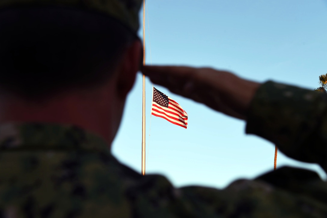 A sailor salutes the flag during evening colors on Naval Base Coronado, Calif., Nov. 18, 2015. The flag is flying at half mast to honor the victims of a terrorist attack in Paris, Nov. 13, 2015. The sailor is assigned to Naval Special Warfare Command. U.S. Navy photo by Petty Officer 2nd Class Timothy M. Black