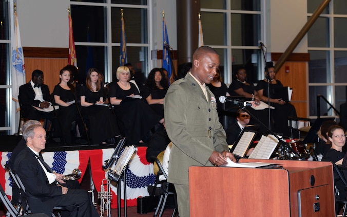 Lt. Col. Nathaniel Robinson, executive officer, Marine Corps Logistics Base Albany, speaks during the Veterans Day ceremony at Darton State College, Albany, Georgia, Nov. 10.