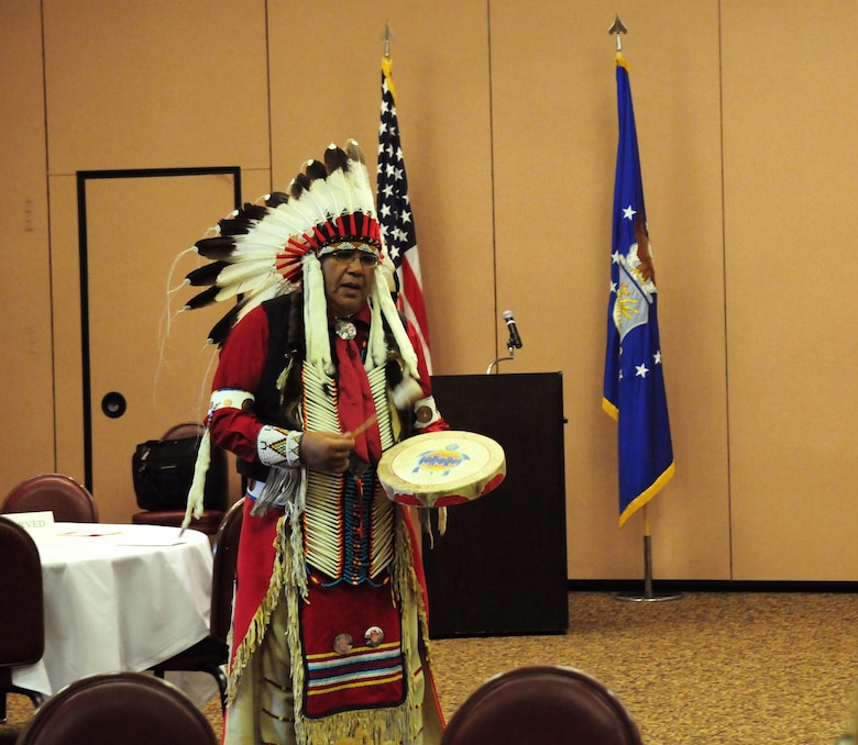 Lucky Preston performs a song during an American Indian Heritage Month event Nov. 19, 2015, at Beale Air Force Base, California. In 1990, President George H. W. Bush approved a joint resolution designating November, National American Indian Heritage Month. Similar proclamations, under variants on the name (including Native American Heritage Month and National American Indian and Alaska Native Heritage Month) have been issued each year since 1994. (U.S. Air Force photo by Staff Sgt. Zachary Vucic)