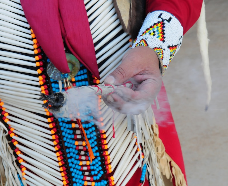 Lucky Preston lights sage in preparation for a Sage Blessing during an American Indian Heritage Month event Nov. 19, 2015, at Beale Air Force Base, California. In 1990, President George H. W. Bush approved a joint resolution designating November, National American Indian Heritage Month. Similar proclamations, under variants on the name (including Native American Heritage Month and National American Indian and Alaska Native Heritage Month) have been issued each year since 1994. (U.S. Air Force photo by Staff Sgt. Zachary Vucic)