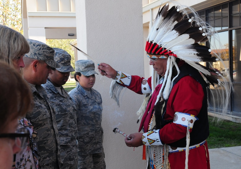 Lucky Preston performs a Sage Blessing during an American Indian Heritage Month event Nov. 19, 2015, at Beale Air Force Base, California. Preston is a lecturer and instructor of Native American history, arts and jewelry. (U.S. Air Force photo by Staff Sgt. Zachary Vucic)