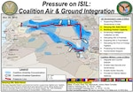 Graphic illustrating how Coalition air support is enabling indigenous ground forces to pressure the Islamic State of Iraq and the Levant (ISIL) in Iraq and Syria.