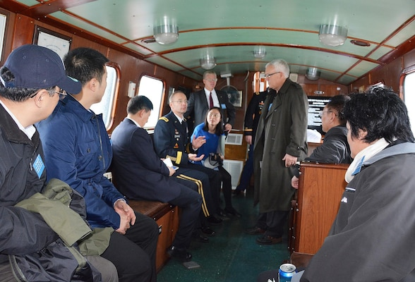 Inside the cabin onboard the USACE vessel Hocking, Brig. Gen. William Graham, CG USACE North Atlantic Division and Mr. Steve Stockton, HQ USACE Director of Civil Works discuss post Sandy coastal projects with Minister Chen Lei of the Ministry of Water Resources of China and Delegation and Ms. Jing Xu, Deputy Division Chief, Department of International Cooperation, Science and Technology. On November 19, 2015 the USACE leaders conducted briefings with the Chinese Minister of Water Resources in New York City regarding post Sandy efforts.