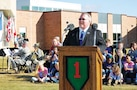 "Dr. Corbin Witt, superintendent of USD 475 is shown above speaking at the Fort Riley Elementary School's official ribbon-cutting ceremony Oct. 9. Fort Riley Elementary School is the third new school in as many years to open on the post. ""Today is a celebration,"" he said. ""It's a celebration of what can happen when federal, state and local entities work together for a common goal. It's a celebration of the partnership we share between Fort Riley and USD 475."""