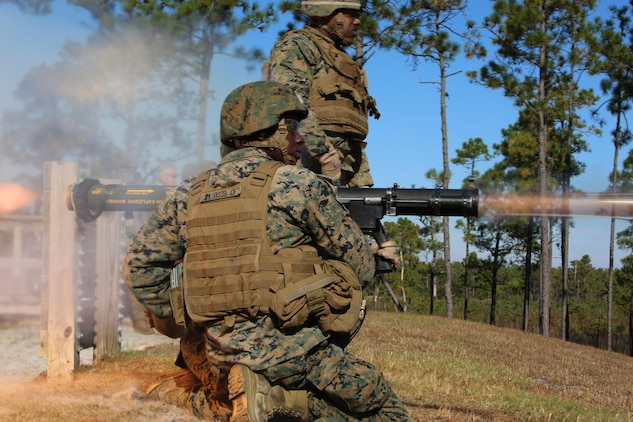 Marines with the Anti-Armor Section, Weapons Company, Ground Combat Element Integrated Task Force, fire the Mk-153 shoulder-launched multipurpose assault weapon, or SMAW, at Marine Corps Base Camp Lejeune, North Carolina. Marine Corps Systems Command awarded a contract to build the SMAW MOD 2, which will improve the weapon's stability and durability. (U.S. Marine Corps photo by Sgt. Alicia R. Leaders)